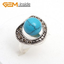 G7560 Dyed blue turquoise Fashion 10mm round beads vintage tibetan silver marcasite ring 9 materials pick Rings Fashion Jewelry Jewellery