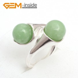 G7567 Dyed green aventurine 10mm double round beads tibetan silver ring fashion jewelry ,7 materials select Rings Fashion Jewelry Jewellery