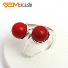 G7570 Man-made red coral 10mm double round beads tibetan silver ring fashion jewelry ,7 materials select Rings Fashion Jewelry Jewellery