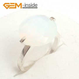 G7584 White opalite 14mm diamond-shaped beads tibetan silver ring fashion jewelry 8 materials select Rings Fashion Jewelry Jewellery