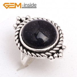 G7590 Blue sandstone 15mm button beads vintage tibetan silver ring fashion jewelry 6 materials select Rings Fashion Jewelry Jewellery