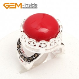 G7596 Man-made red coral Pretty 17mm button beads vintage tibetan silver marcasite ring 9 materials pick Rings Fashion Jewelry Jewellery