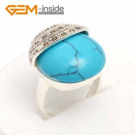 G7601 Dyed blue turquoise Pretty 20mm Button Beads Vintage Tibetan Silver Marcasite Ring ,6 Materials Rings Fashion Jewelry Jewellery