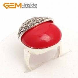 G7604 Man-made red coral Pretty 20mm Button Beads Vintage Tibetan Silver Marcasite Ring ,6 Materials Rings Fashion Jewelry Jewellery