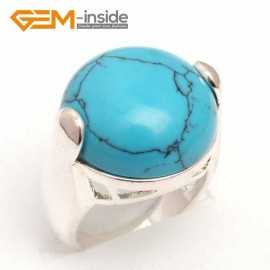 G7619 Dyed blue turquoise G-Beads 20mm button beads tibetan silver ring fashion jewelry 5 materials select Rings Fashion Jewelry Jewellery