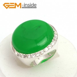 G7631 Dyed green jade 28mm button beads rhinestones tibetan silver ring fashion jewelry 6 materials Rings Fashion Jewelry Jewellery