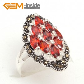 G7635 Semi ruby Pretty 3x6mm marquise beads tibetan silver marcasite ring 15x28mm 4 materials Rings Fashion Jewelry Jewellery