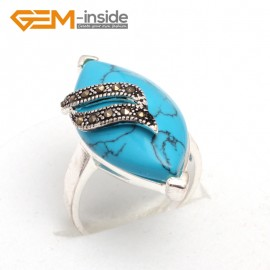 G7641 Dyed blue turquoise Pretty 17x32mm marquise beads tibetan silver marcasite ring size 6 materials Rings Fashion Jewelry Jewellery