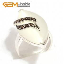 G7644 White cat eye Pretty 17x32mm marquise beads tibetan silver marcasite ring size 6 materials Rings Fashion Jewelry Jewellery
