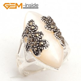 G7651 White shell Pretty 14x27mm marquise beads tibetan silver marcasite ring size 8 materials Rings Fashion Jewelry Jewellery