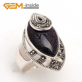 G7659 Blue sandstone Pretty Marquise beads tibetan silver marcasite ring 18x30mm 6 materials select Rings Fashion Jewelry Jewellery