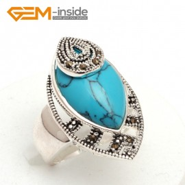 G7660 Dyed blue turquoise Pretty Marquise beads tibetan silver marcasite ring 18x30mm 6 materials select Rings Fashion Jewelry Jewellery