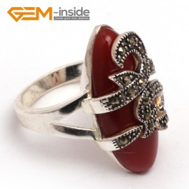 G7667 Dyed red jade 14x29mm marquise beads tibetan silver marcasite ring fashion jewelry 8 materials Rings Fashion Jewelry Jewellery