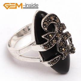 G7668 Semi black agate 14x29mm marquise beads tibetan silver marcasite ring fashion jewelry 8 materials Rings Fashion Jewelry Jewellery