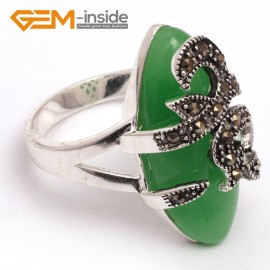 G7670 Dyed green aventurine 14x29mm marquise beads tibetan silver marcasite ring fashion jewelry 8 materials Rings Fashion Jewelry Jewellery