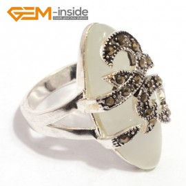 G7672 White cat eye 14x29mm marquise beads tibetan silver marcasite ring fashion jewelry 8 materials Rings Fashion Jewelry Jewellery