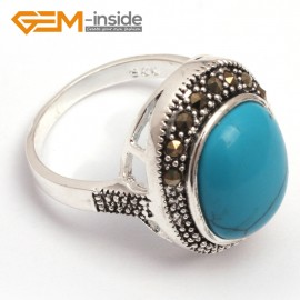 G7673 Dyed blue turquoise Pretty 12X14mm oval beads tibetan silver marcasite ring 17x21mm 9 materials  Rings Fashion Jewelry Jewellery