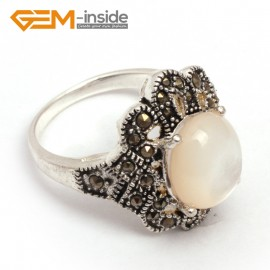 G7683 White shell Fashion 10X12mm oval beads tibetan silver marcasite ring 18x22mm 6 materials Rings Fashion Jewelry Jewellery