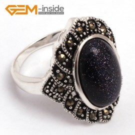 G7688 Blue sandstone Fashion 10X16mm oval beads tibetan silver marcasite ring 21x26mm 6 materials Rings Fashion Jewelry Jewellery