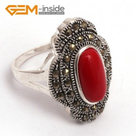 G7704 Man-made red coral Pretty oval beads flower tibetan silver marcasite ring 19x27mm 8 materials Rings Fashion Jewelry Jewellery