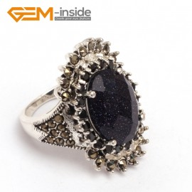 G7738 Faceted blue sandstone Fashion 13x17mm oval beads tibetan silver marcasite ring 20x30mm 6 materials Rings Fashion Jewelry Jewellery