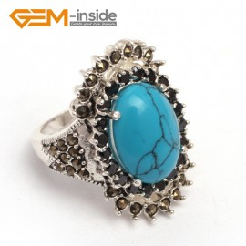 G7739 Dyed blue turquoise Fashion 13x17mm oval beads tibetan silver marcasite ring 20x30mm 6 materials Rings Fashion Jewelry Jewellery