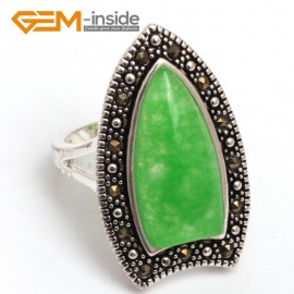 G7764 dyed green jade G-beads 10x20mm Beads Tibetan Silver Marcasite Fashion Ring 18x30mm 6 Materials  Rings Fashion Jewelry Jewellery