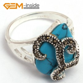 G7781 dyed blue turquoise G-beads 16x20mm drip beads tibetan silver base marcasite snake trendy new ring Rings Fashion Jewelry Jewellery