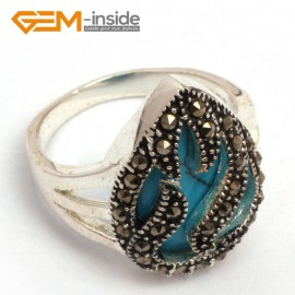 G7788 dyed blue turquoise 15x20mm drip beads tibetan silver base marcasite trendy ring send by random Rings Fashion Jewelry Jewellery