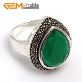 G7813 semi emerald Trendy 13x17mm faceted beads tibetan silver base marcasite ring 19x24mm  jewelry Rings Fashion Jewelry Jewellery