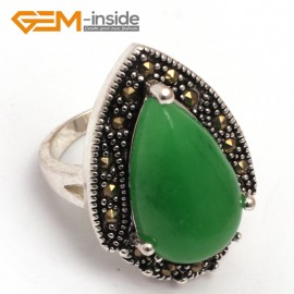 G7817 dyed green jade 12x20mm drip beads tibetan silver base marcasite trendy ring 19x27mm  jewelry Rings Fashion Jewelry Jewellery