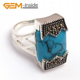 G7843 dyed blue turquoise Fashional 12x20mm rectangle beads tibetan silver base marcasite jewelry ring Rings Fashion Jewelry Jewellery