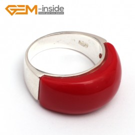 G7875 man-made red coral Pretty mixed beads tibetan silver base ring 10x22mm 6 materials selectable Rings Fashion Jewelry Jewellery