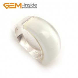 G7877 white cat eye Pretty mixed beads tibetan silver base ring 10x22mm 6 materials selectable Rings Fashion Jewelry Jewellery