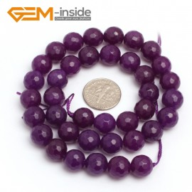 "G7898 8mm Round Faceted Dark Purple Jade Gemstone Beads Jewelry Making Loose Beads 15"" Natural Stone Beads for Jewelry Making Wholesale"