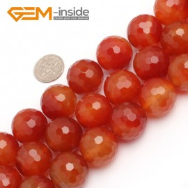 """G7901 20mm Round Faceted Gemstone Natural Red Carnelian Agate Stone Beads Strand 15"""" Natural Stone Beads for Jewelry Making Wholesale"""