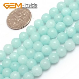 "G7904 6mm Sky Blue Round Jade Gemstone Jewelry Making Beads Strand 15"" ,Select 4/6/8mm Natural Stone Beads for Jewelry Making Wholesale`"