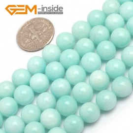 "G7905 8mm Sky Blue Round Jade Gemstone Jewelry Making Beads Strand 15"" ,Select 4/6/8mm Natural Stone Beads for Jewelry Making Wholesale`"