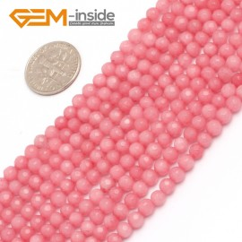 "G7908 4mm Round Faceted Pink Jade Loose Beads Strand 15"" Natural Stone Beads for Jewelry Making Wholesale"