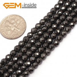 """G7934 4mm Round Faceted Magnetic Black Hematite Stone Beads 15"""" Natural Stone Beads for Jewelry Making Wholesale"""