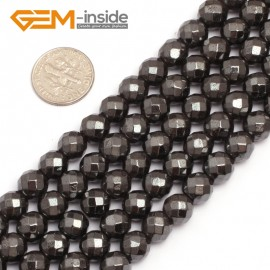 "G7936 8mm Round Faceted Magnetic Black Hematite Stone Beads 15"" Natural Stone Beads for Jewelry Making Wholesale"