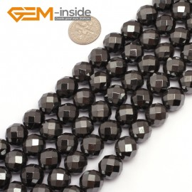 """G7938 12mm Round Faceted Magnetic Black Hematite Stone Beads 15"""" Natural Stone Beads for Jewelry Making Wholesale"""