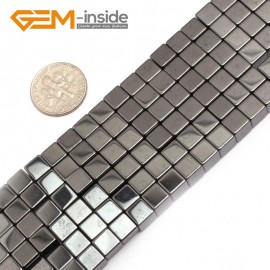 """G7949 6mm Cubic Magnetic Black Hematite Stone Strand 15"""" Natural Stone Beads for Jewelry Making Wholesale"""