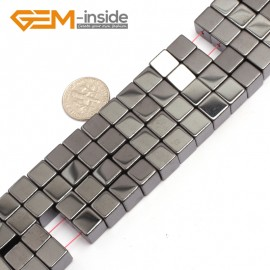 """G7950 8mm Cubic Magnetic Black Hematite Stone Strand 15"""" Natural Stone Beads for Jewelry Making Wholesale"""