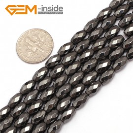 """G7957 5x8mm Faceted Rice Olivary Magnetic Black Hematite Stone Strand 15"""" Natural Stone Beads for Jewelry Making Wholesale"""