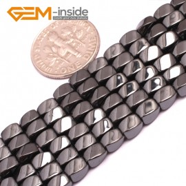 """G7964 3x5mm Twist Black Hematite Gemstone Magnetic  Loose Beads 15"""" Natural Stone Beads for Jewelry Making Wholesale"""