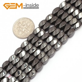 "G7965 4x7mm Twist Black Hematite Gemstone Magnetic  Loose Beads 15"" Natural Stone Beads for Jewelry Making Wholesale"
