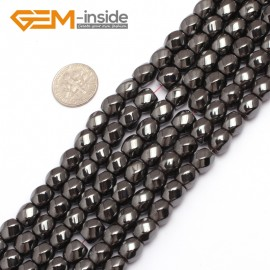"""G7971 8mm Round Twist  Magnetic Black Hematite Gemstone Loose Beads 15"""" Natural Stone Beads for Jewelry Making Wholesale"""