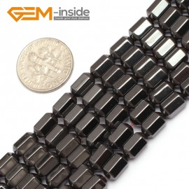 "G7976 5x8mm Hexagonal Faced Magnetic Black Hematite Gemstone Loose Beads 15"" Natural Stone Beads for Jewelry Making Wholesale"