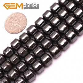 """G7988 8x8mm Drum Magnetic Black Hematite Gemstone Loose Beads Strand 15"""" Natural Stone Beads for Jewelry Making Wholesale"""